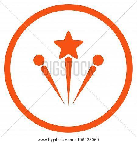 Salute Fireworks rounded icon. Vector illustration style is flat iconic symbol inside circle, orange color, white background.