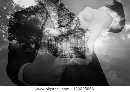 Double Exposure Of People And Nature