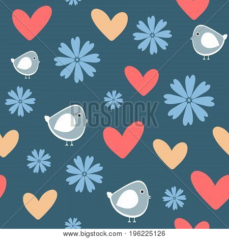 Repeating funny flowers birds and hearts. Cute seamless pattern. Cartoon vector illustration. Blue white red beige colour.