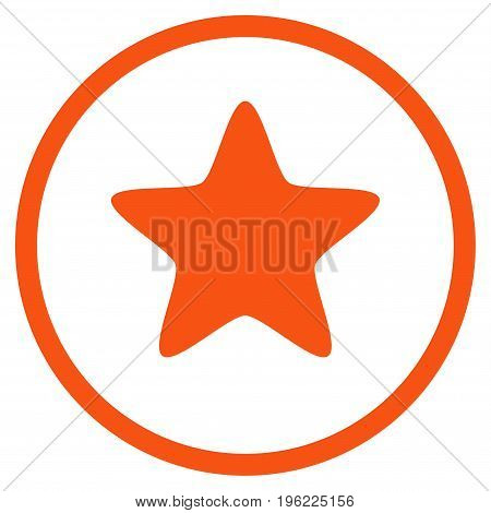 Star rounded icon. Vector illustration style is flat iconic symbol inside circle, orange color, white background.