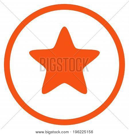 Star rounded icon. Vector illustration style is flat iconic symbol inside circle, orange color, white background.