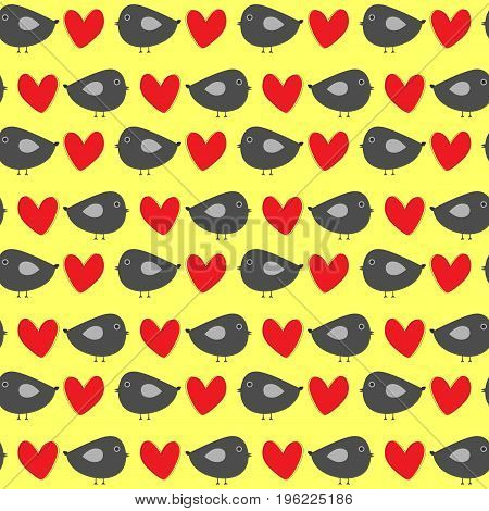 Funny gray birdies with red hearts on a yellow background. Colorful seamless pattern for children. Comic repeating template. Vector illustration.