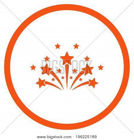 Star Fireworks rounded icon. Vector illustration style is flat iconic symbol inside circle, orange color, white background.