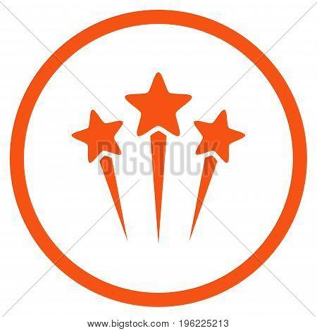 Star Salute rounded icon. Vector illustration style is flat iconic symbol inside circle, orange color, white background.
