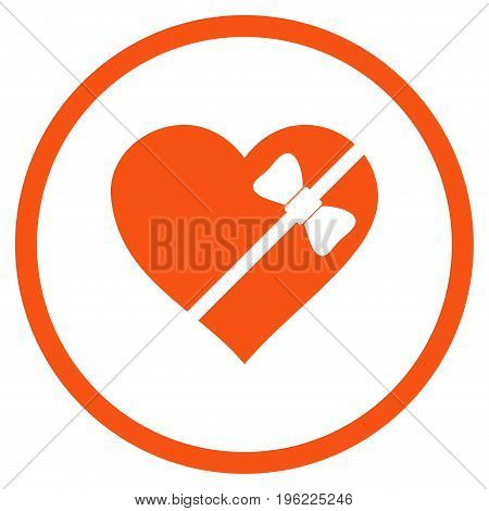 Tied Love Heart rounded icon. Vector illustration style is flat iconic symbol inside circle, orange color, white background.