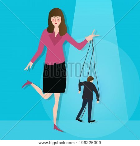 hands of woman control puppet concept of leadership dictator manipulated powerless worker in business vector poster