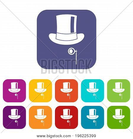 Hat with monocle icons set vector illustration in flat style in colors red, blue, green, and other