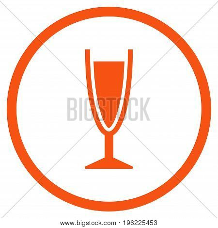Wine Glass rounded icon. Vector illustration style is flat iconic symbol inside circle, orange color, white background.