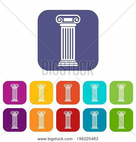 Roman column icons set vector illustration in flat style in colors red, blue, green, and other