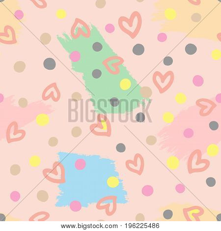 Seamless pattern with outlines of hearts circles and brushstrokes. Cute seamless pattern. Vector illustration. Pink beige dark gray yellow blue green colour.