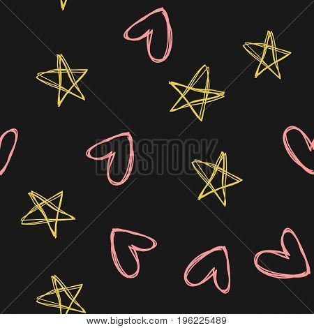 Repeated outlines of stars and hearts. Drawn by hand. Sketch doodle. Vector illustration. Black yellow pink color.