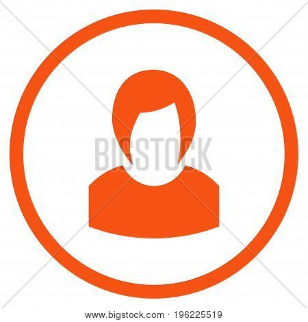 Woman Profile rounded icon. Vector illustration style is flat iconic symbol inside circle, orange color, white background.