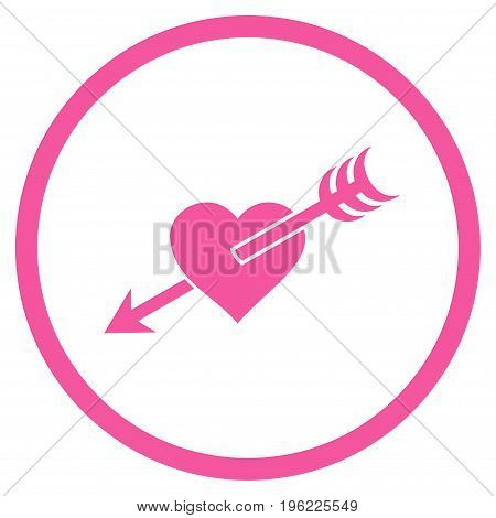 Arrow Heart rounded icon. Vector illustration style is flat iconic symbol inside circle, pink color, white background.