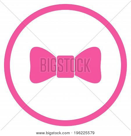 Bow Tie rounded icon. Vector illustration style is flat iconic symbol inside circle, pink color, white background.