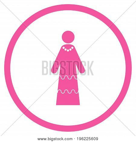 Bride rounded icon. Vector illustration style is flat iconic symbol inside circle, pink color, white background.