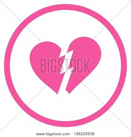 Broken Heart rounded icon. Vector illustration style is flat iconic symbol inside circle, pink color, white background.