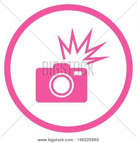 Camera Flash rounded icon. Vector illustration style is flat iconic symbol inside circle, pink color, white background.
