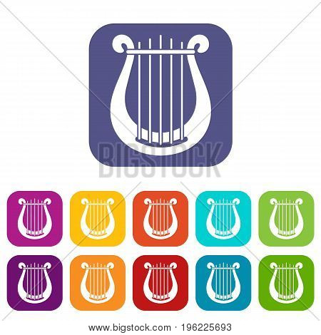 Harp icons set vector illustration in flat style in colors red, blue, green, and other