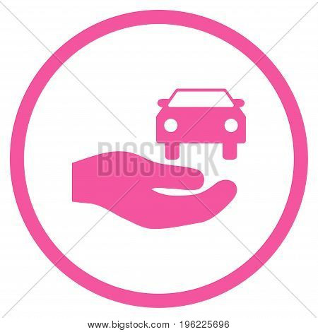 Car Gift Hand rounded icon. Vector illustration style is flat iconic symbol inside circle, pink color, white background.