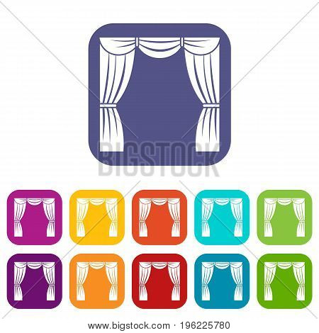 Curtain on stage icons set vector illustration in flat style in colors red, blue, green, and other