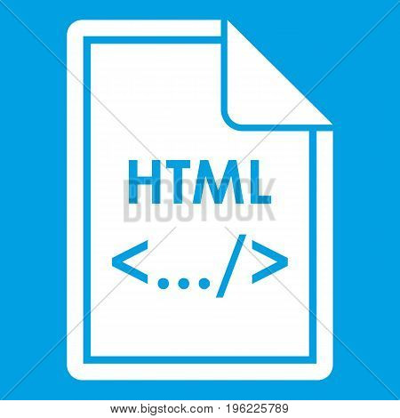 File HTML icon white isolated on blue background vector illustration