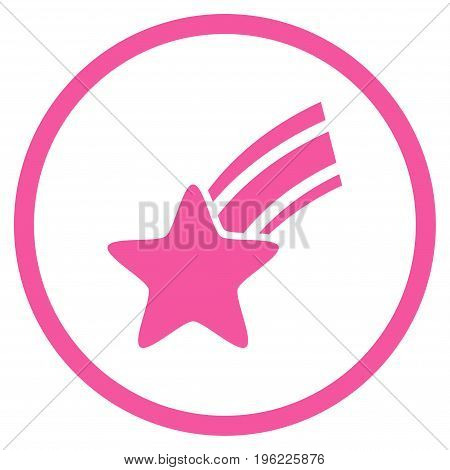 Falling Star rounded icon. Vector illustration style is flat iconic symbol inside circle, pink color, white background.