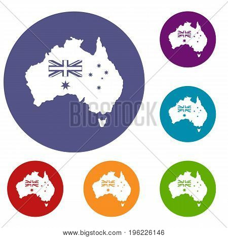 Australia icons set in flat circle red, blue and green color for web