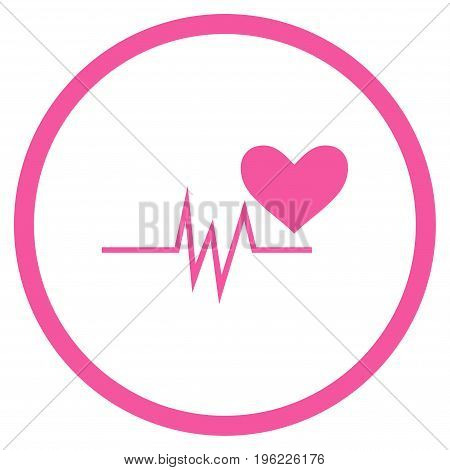 Heart Pulse Signal rounded icon. Vector illustration style is flat iconic symbol inside circle, pink color, white background.