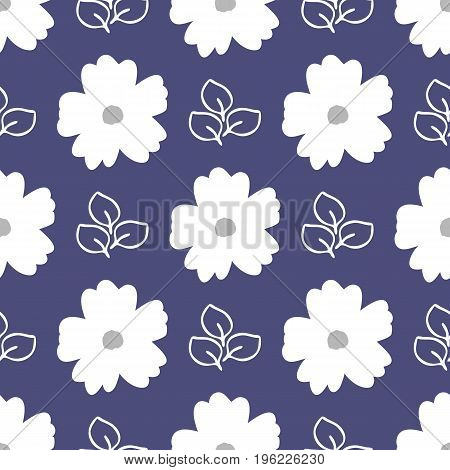 Floral seamless pattern. White flowers and outlines of leaves on a blue background. Vector illustration.