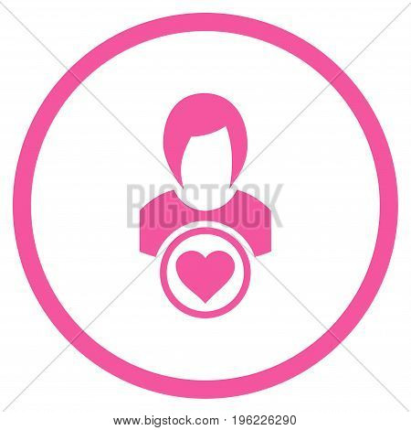 Lady Love rounded icon. Vector illustration style is flat iconic symbol inside circle, pink color, white background.