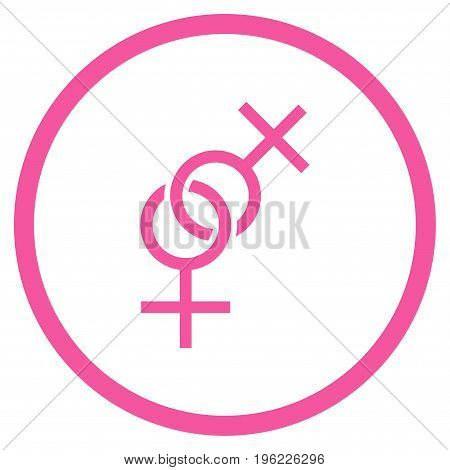 Lesbian Love Symbol rounded icon. Vector illustration style is flat iconic symbol inside circle, pink color, white background.
