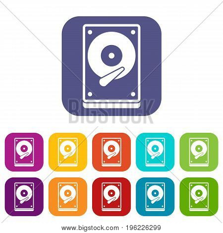 HDD icons set vector illustration in flat style in colors red, blue, green, and other