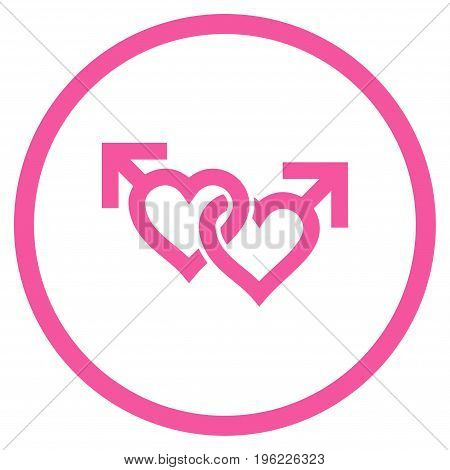 Linked Gay Hearts rounded icon. Vector illustration style is flat iconic symbol inside circle, pink color, white background.