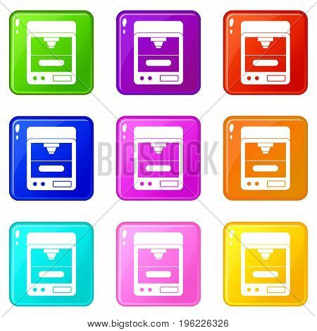 3D printer icons of 9 color set isolated vector illustration