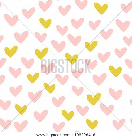 Repeated hearts. Drawn by hand. Romantic seamless pattern. Vector illustration.