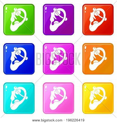 Human ear with piercing icons of 9 color set isolated vector illustration