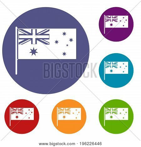 Australian flag icons set in flat circle red, blue and green color for web