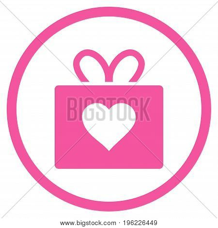 Love Gift rounded icon. Vector illustration style is flat iconic symbol inside circle, pink color, white background.