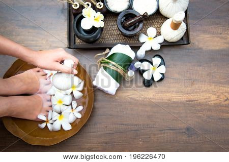 Spa treatment and product for female feet and manicure nails spa Thailand select focus. Healthy Concept.