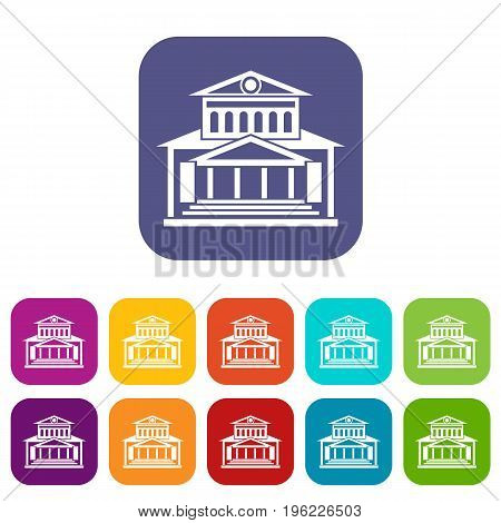 Theater building icons set vector illustration in flat style in colors red, blue, green, and other