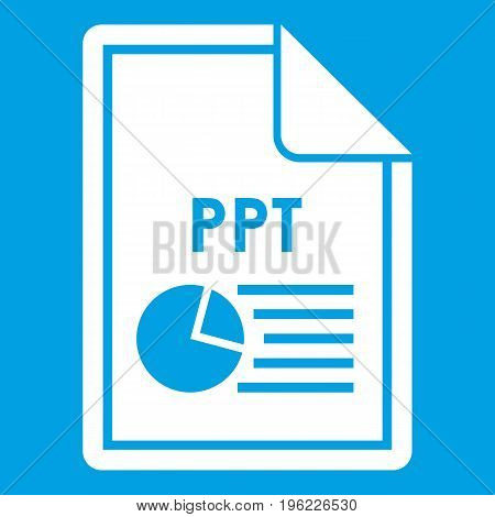 File PPT icon white isolated on blue background vector illustration