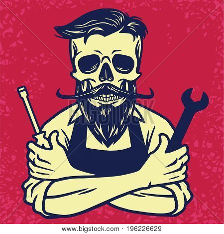 Skull Biker Mechanic Hipster Vector Design Illustration