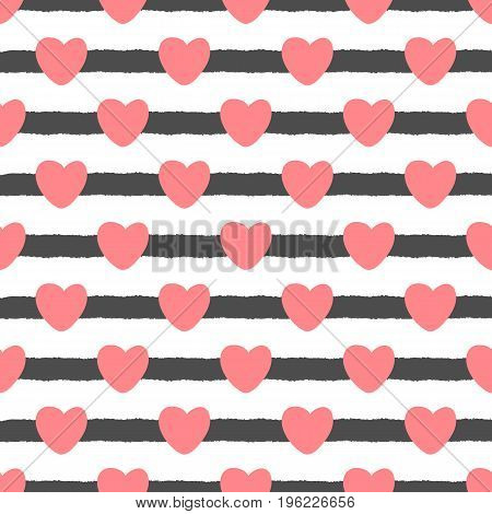 Repeating cute hearts on a striped background. Drawn by hand. Seamless pattern for the design of postcards invitations covers youth textiles. Vector illustration. Pink black white colour.