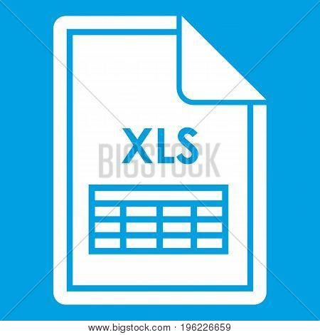 File XLS icon white isolated on blue background vector illustration