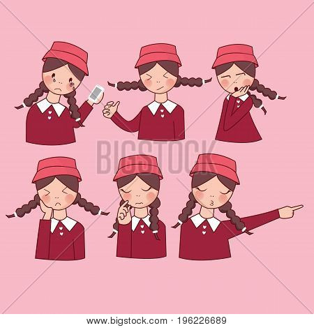 facial expressions set woman girl vector, expression avatar character, mom happy ask forgiveness, sad, funny vector