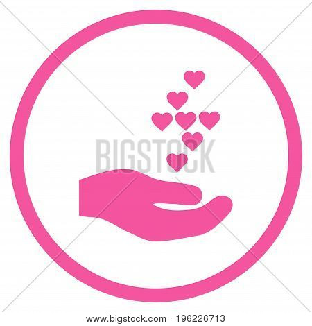 Love Hearts Offer Hand rounded icon. Vector illustration style is flat iconic symbol inside circle, pink color, white background.
