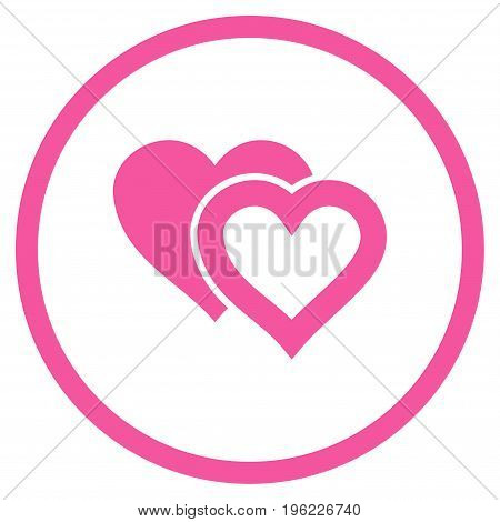 Love Hearts rounded icon. Vector illustration style is flat iconic symbol inside circle, pink color, white background.