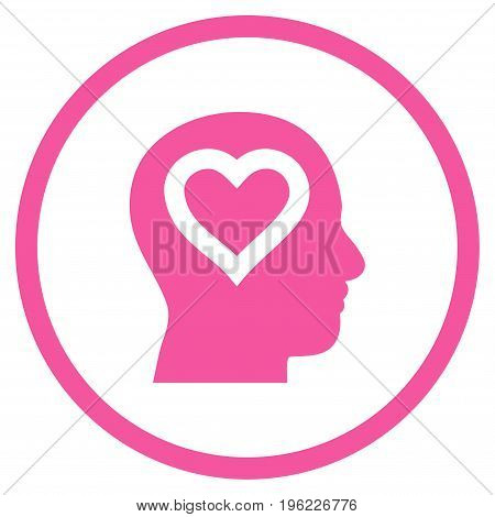 Love In Head rounded icon. Vector illustration style is flat iconic symbol inside circle, pink color, white background.