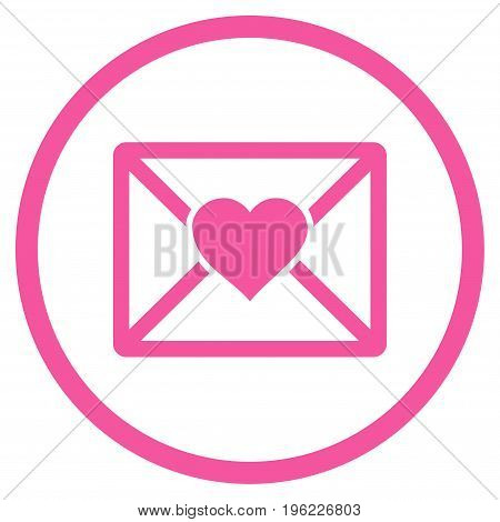 Love Letter rounded icon. Vector illustration style is flat iconic symbol inside circle, pink color, white background.