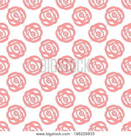 Rose drawn by hand. Sketch doodle. Primitive seamless pattern. Pink flowers on a white background. Vector illustration.